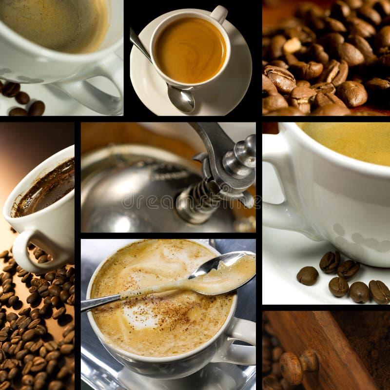 De koffie themed collage stock afbeeldingen