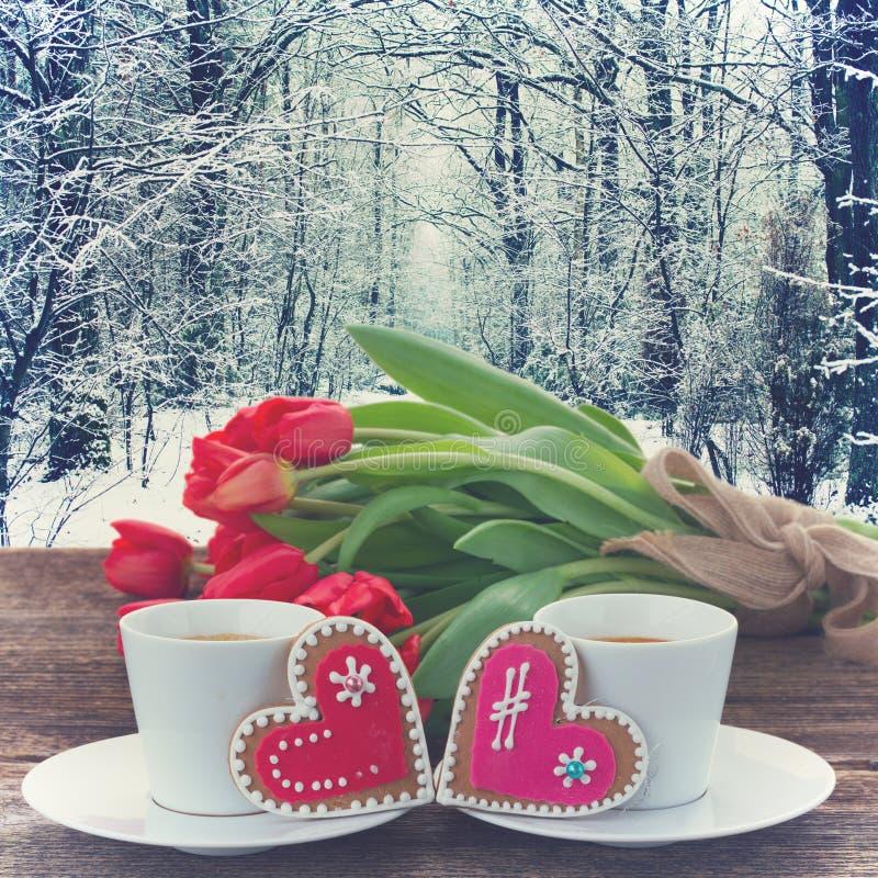 De koffie van de valentijnskaartendag royalty-vrije stock fotografie