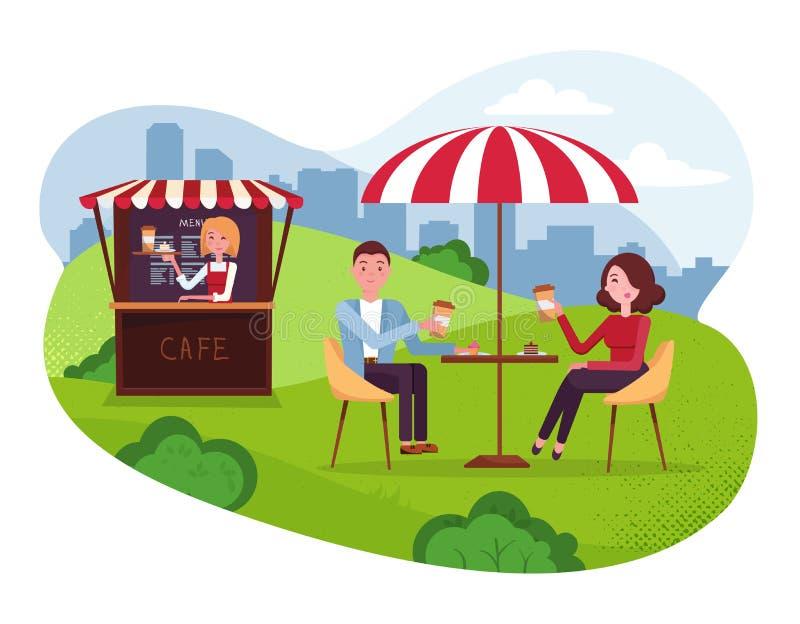 De koffie van het stadspark met paraplu Paar op weekenddatum Mensendrank Coffe met cakes in Openluchtstraatkoffie Park met buiten stock illustratie