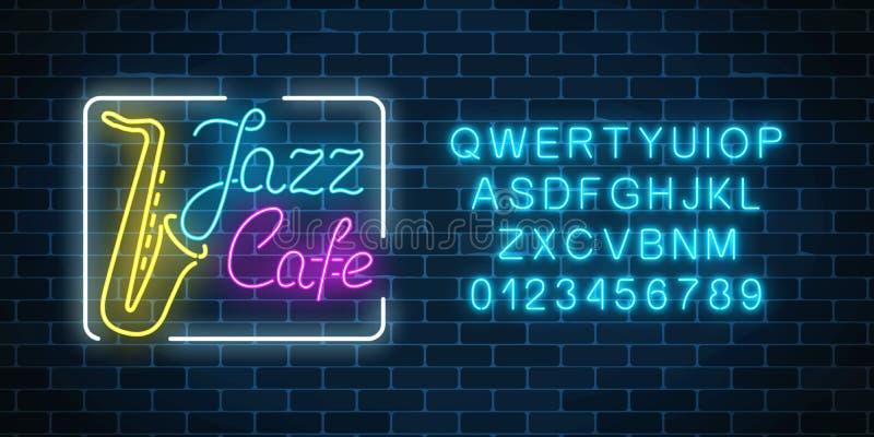 De koffie van de neonjazz en saxofoon gloeiend teken met alfabet Gloeiend straatuithangbord van bar met karaoke en blauwzangers vector illustratie