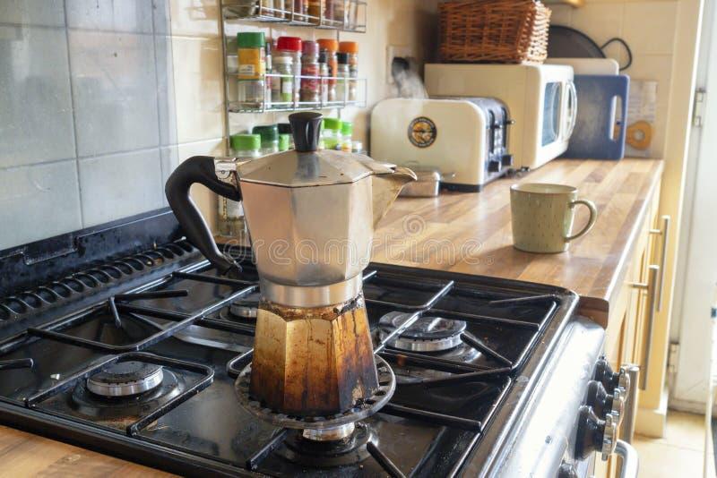 De koffie van Stovetopexpresso stock fotografie