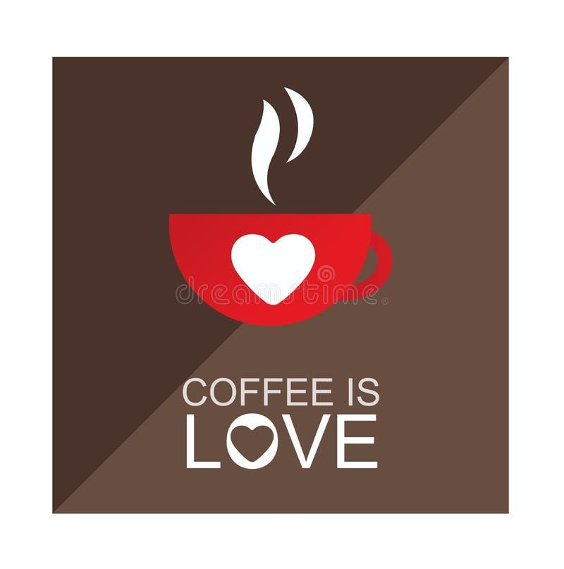 De koffie is de vector van de liefdeillustratie vector illustratie