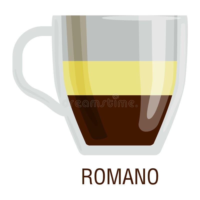 De koffie vormt verschillende koffie tot een kom drinkt romano vector illustratie