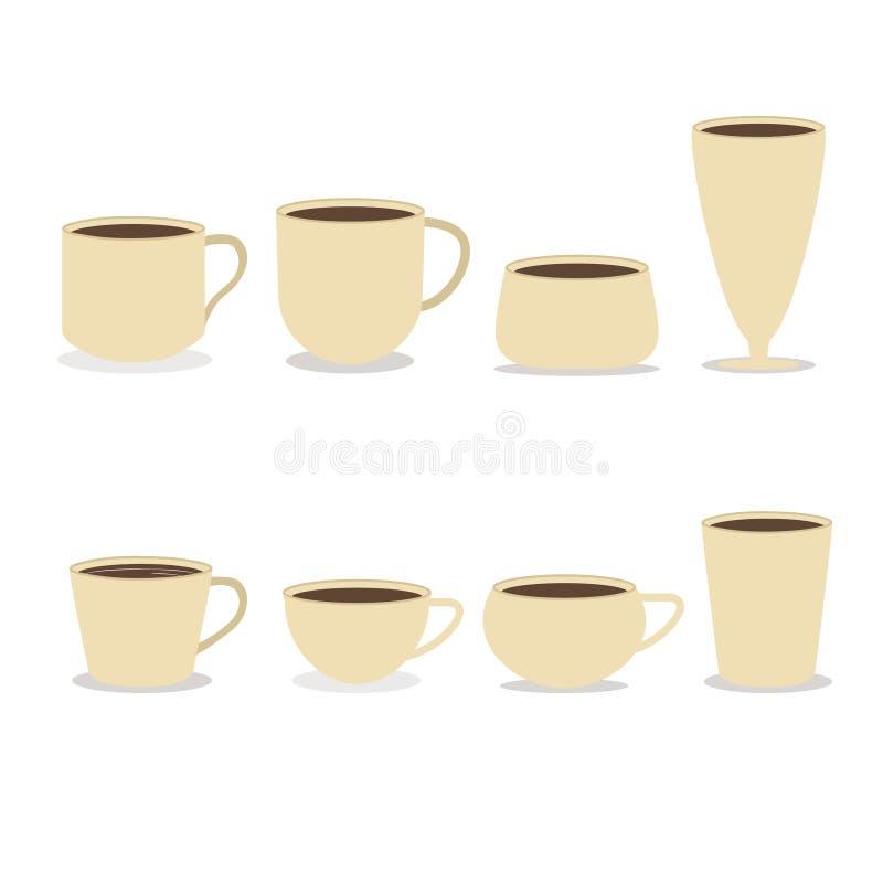 De koffie vormt verschillende types tot een kom vector illustratie
