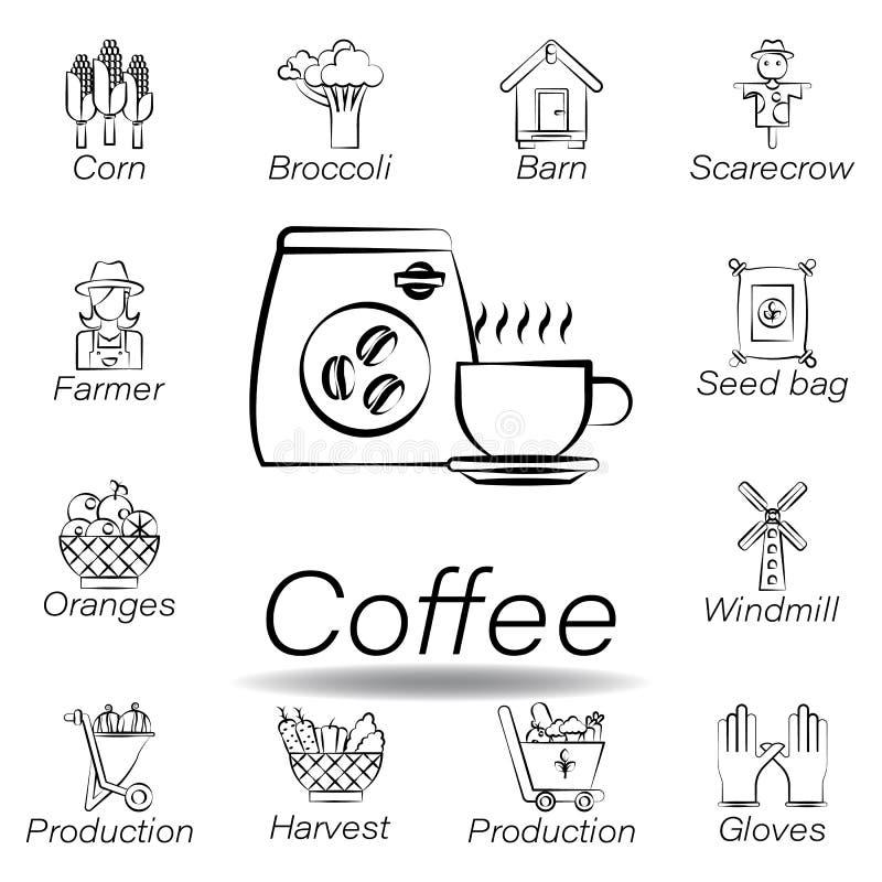 De koffiehand trekt pictogram Element van de landbouw van illustratiepictogrammen De tekens en de symbolen kunnen voor Web, emble stock illustratie