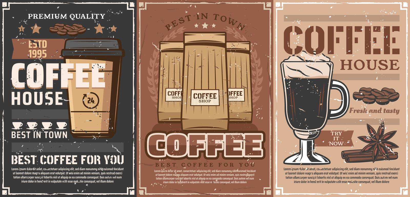 De koffiekop, mok, document zak van rasted bonen, kruiden stock illustratie