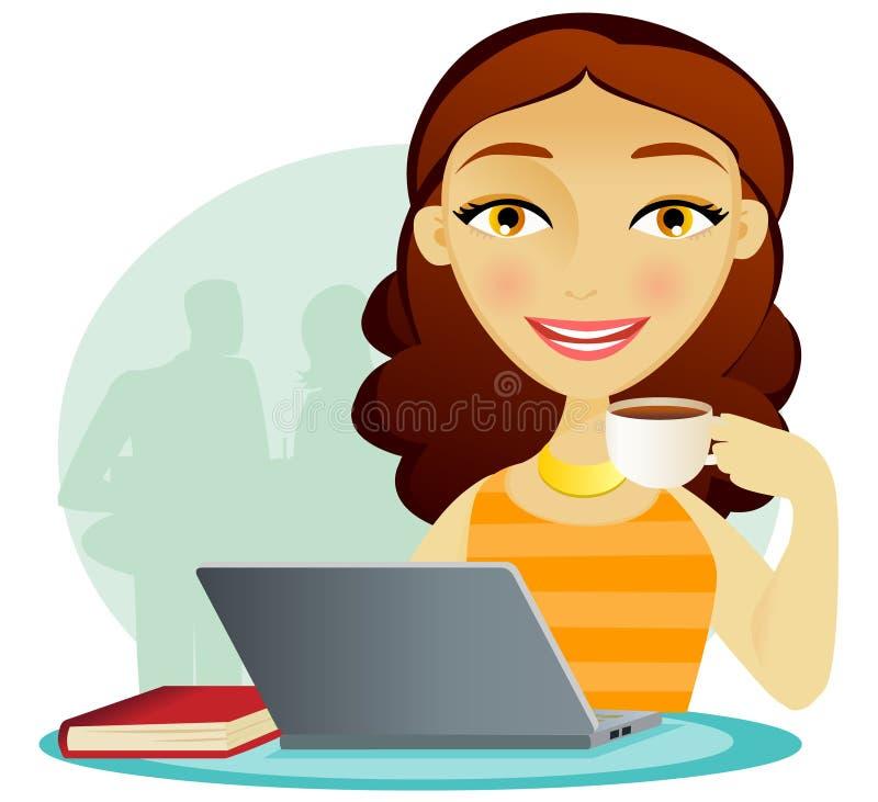 De koffiepauze van de computer royalty-vrije illustratie