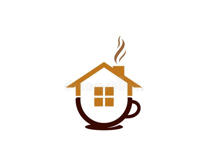 De Koffiepictogram Logo Design Element van het huishuis stock illustratie