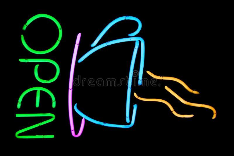 De koffieteken van het neon royalty-vrije stock foto's