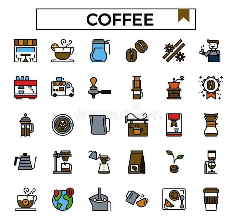 De koffiewinkel vulde het pictogramreeks van het overzichtsontwerp royalty-vrije illustratie