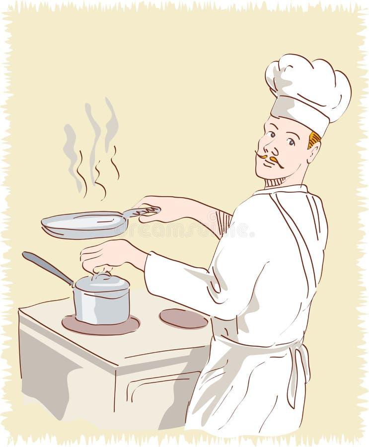 De kok van de chef-kok op het werk stock illustratie
