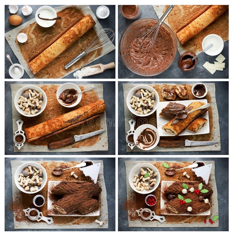 De kokende cake van Kerstmisyule log die met chocoladehulst m wordt verfraaid stock afbeelding