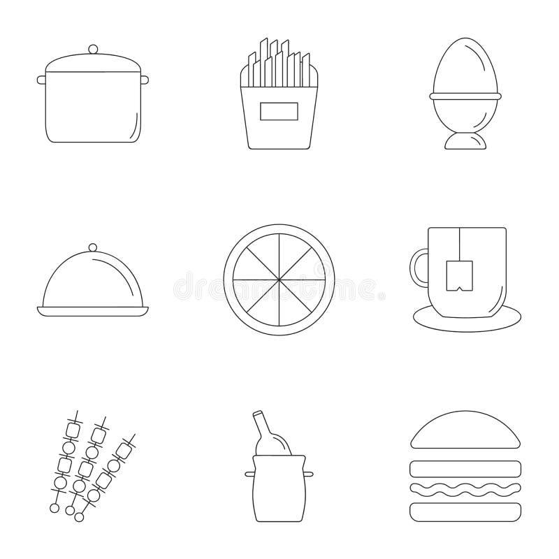 De kokende geplaatste pictogrammen, schetsen stijl stock illustratie
