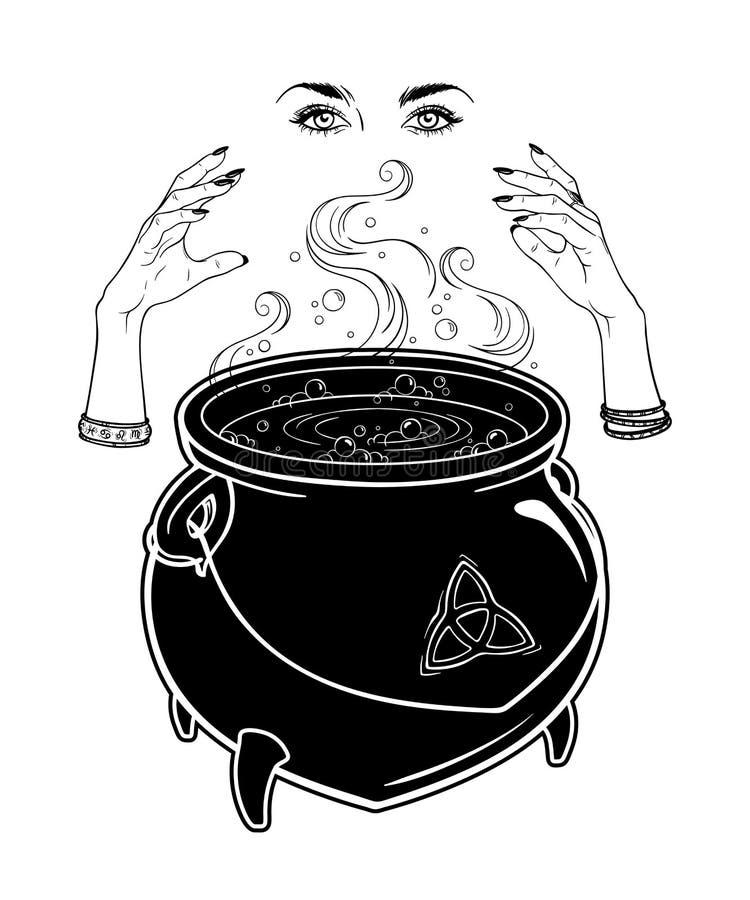 De kokende magische ketel en heksenhanden gieten een werktijd vectorillustratie Hand getrokken wiccan ontwerp, astrologie, magisc vector illustratie