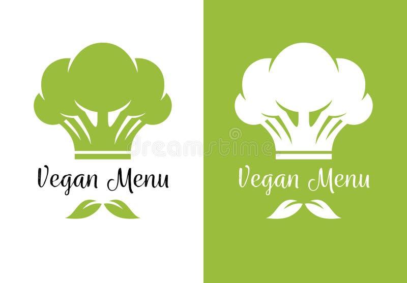 De kokhoed van de broccolichef-kok voor vegetarisch restaurantmenu vector illustratie
