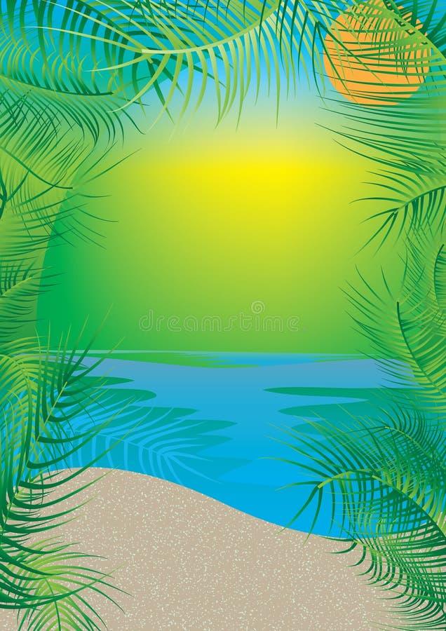 De Kokosnoot van het strand verlaat Frame royalty-vrije illustratie