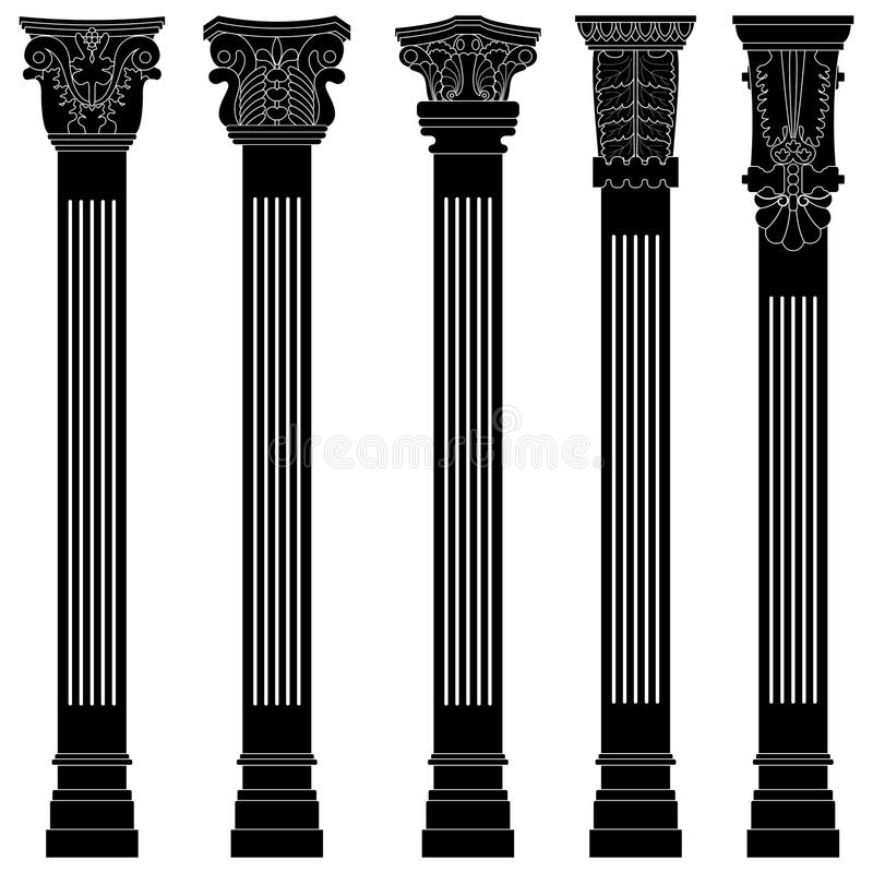 De kolom antieke oude oude roman Griekse boog van de pijler vector illustratie