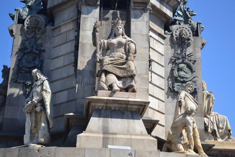 De Kolom van Columbus in Barcelona. stock afbeelding