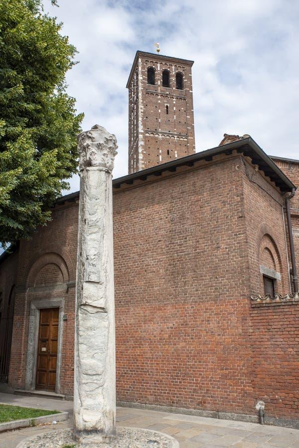 De kolom van de Duivel op vierkant, Milaan stock foto's
