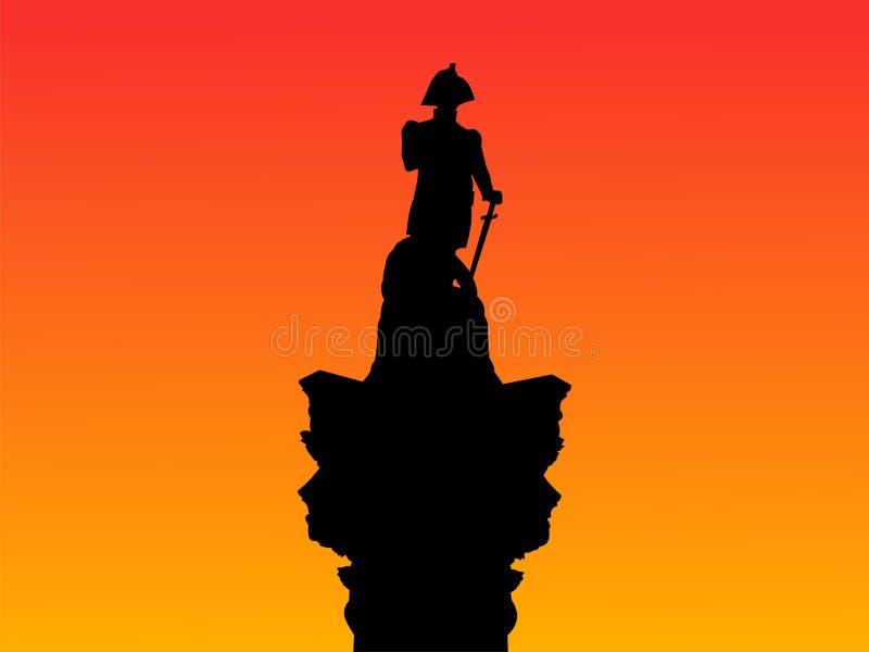 De Kolom van Nelson bij zonsondergang