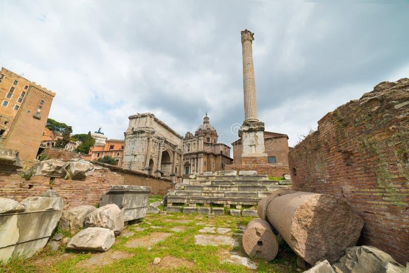 De Kolom van Phocas, Rome, Italië stock foto