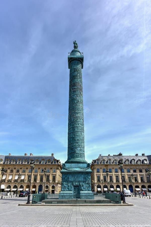 De Kolom van plaatsvendome - Parijs, Frankrijk stock afbeelding