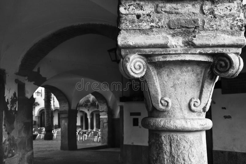 De kolom van pleinchica van Zafra, Badajoz, Spanje royalty-vrije stock foto