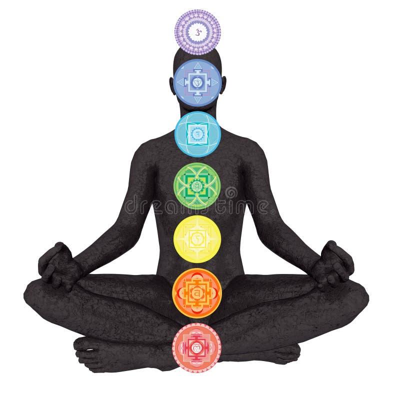 De kolom van zeven chakrasymbolen op zwart menselijk wezen - 3D geef terug vector illustratie