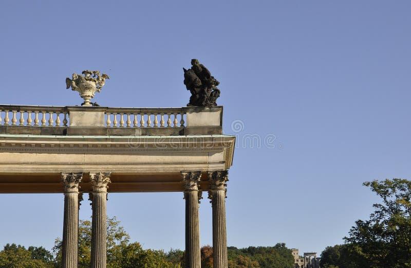 De Kolomdetails van het Sanssoucipaleis in Potsdam, Duitsland stock fotografie