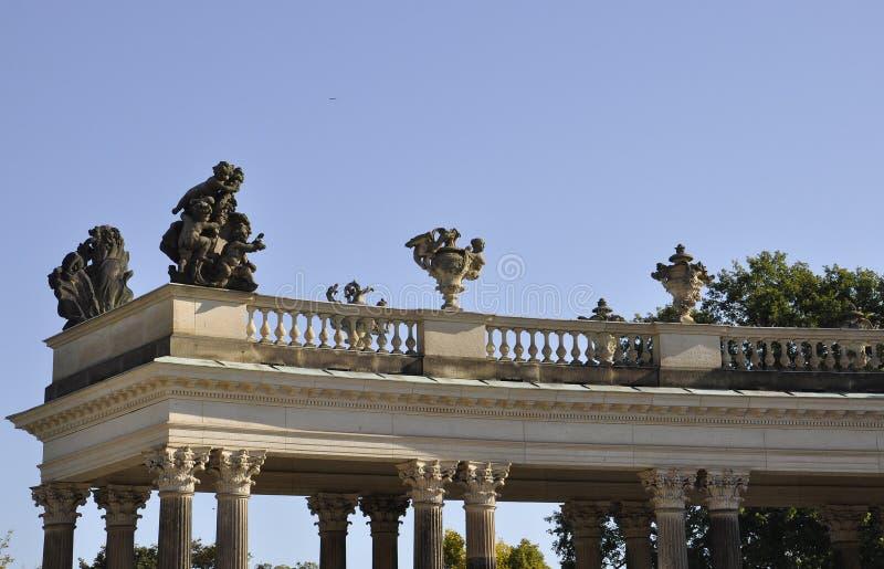 De Kolomdetails van het Sanssoucipaleis in Potsdam, Duitsland royalty-vrije stock afbeelding