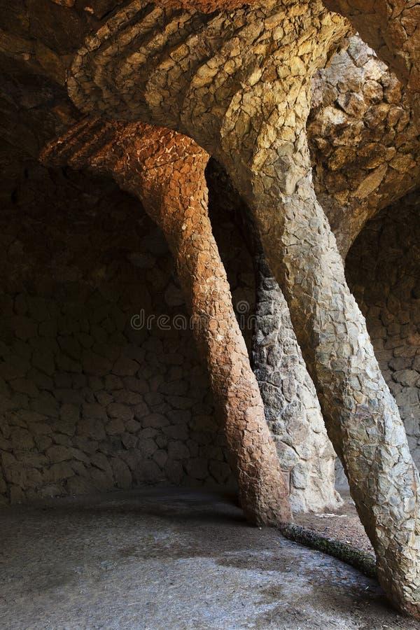 De kolommen van de steen van het Park G?ell royalty-vrije stock fotografie