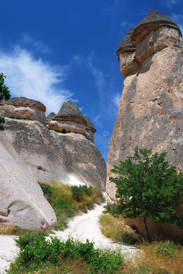 De kolommenhulp van Vulcanic in Cappadocia stock fotografie