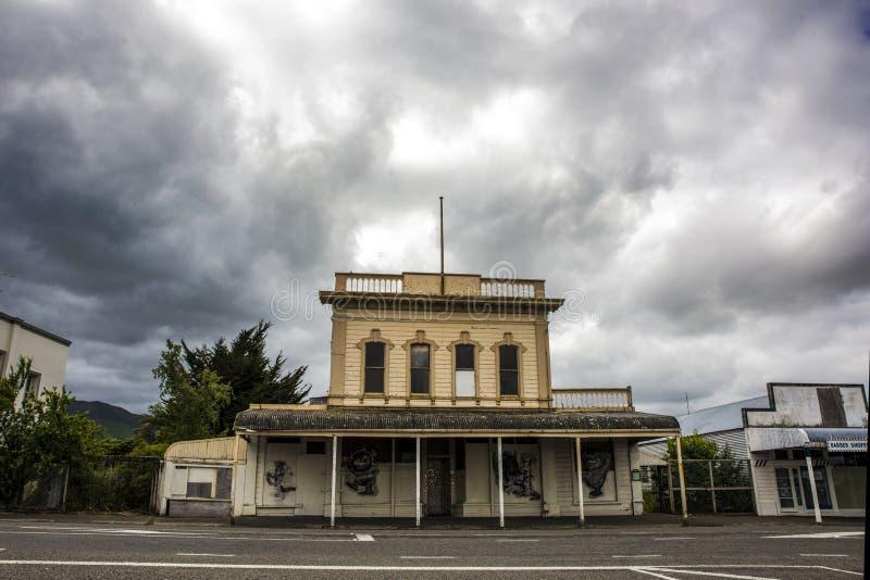 De koloniale bouw in Featherston, Wairarapa, Nieuw Zeeland royalty-vrije stock fotografie