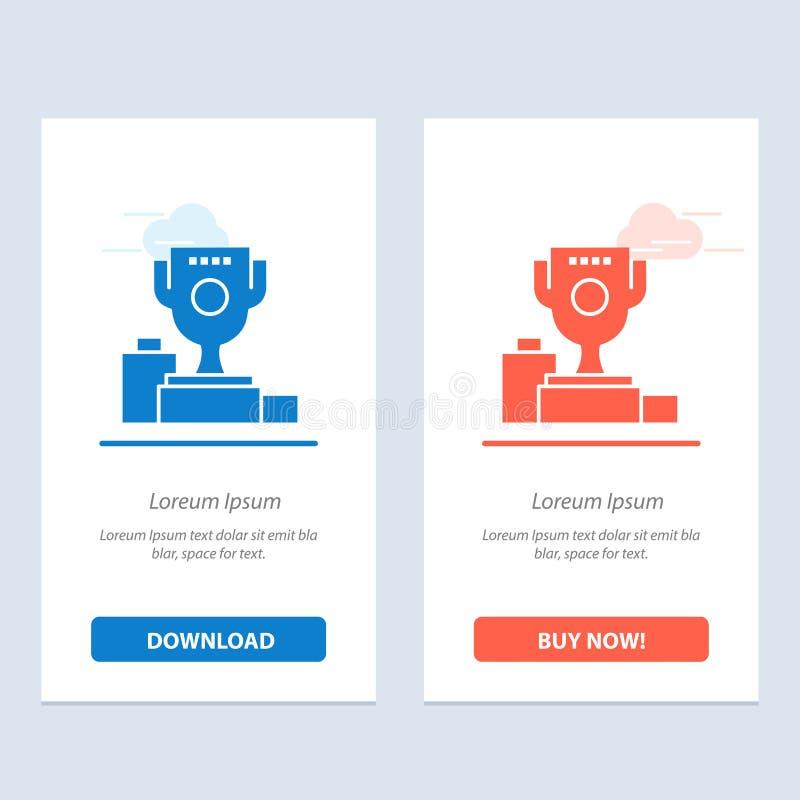 De kom, de Ceremonie, de Kampioen, de Kop, de Drinkbeker Blauwe en Rode Download en kopen nu de Kaartmalplaatje van Webwidget stock illustratie