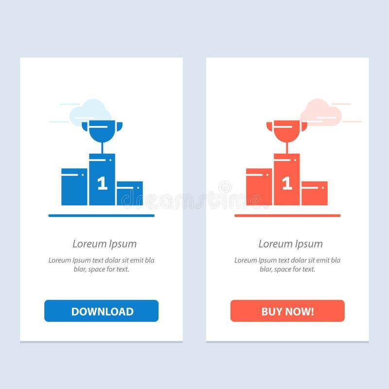 De kom, de Ceremonie, de Kampioen, de Kop, de Drinkbeker Blauwe en Rode Download en kopen nu de Kaartmalplaatje van Webwidget vector illustratie