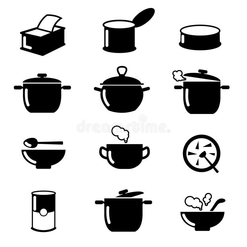 De kom, kunnen en de potten zwarte pictogrammen plaatsen Soepsymbolen vector illustratie