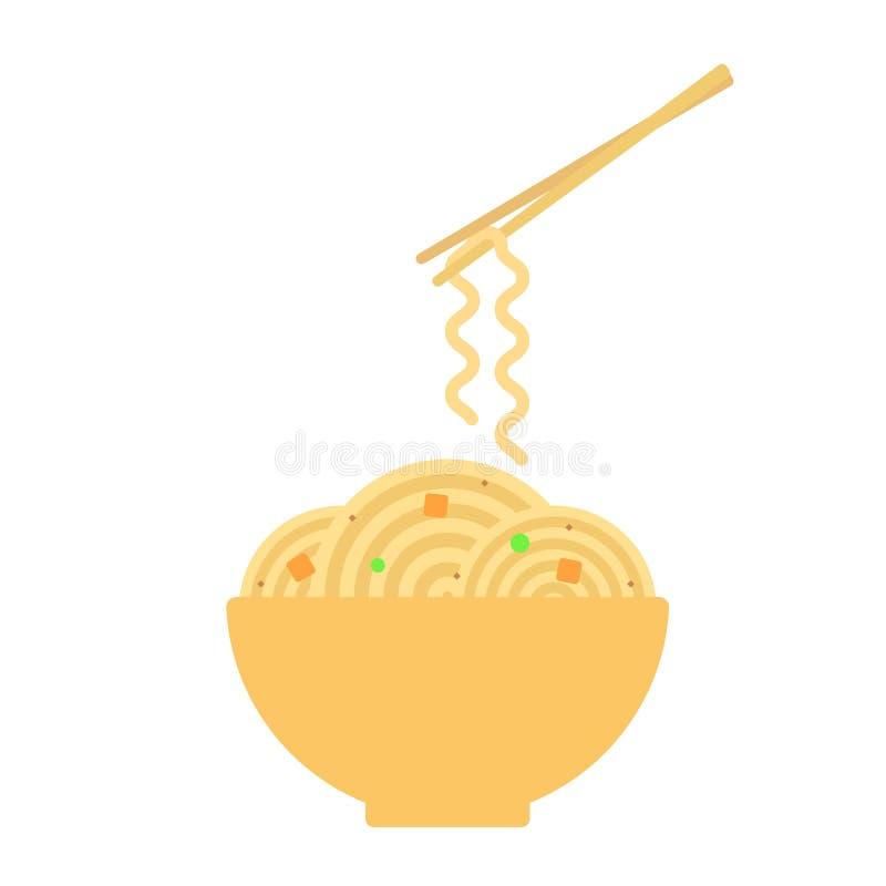 De kom met ramen noedels Eetstokjes die noedel houden Koreaans, Japans, Chinees voedsel Vector stock illustratie