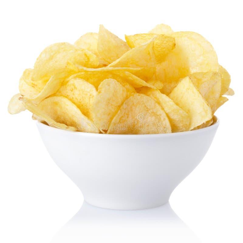 De kom van chips stock afbeelding