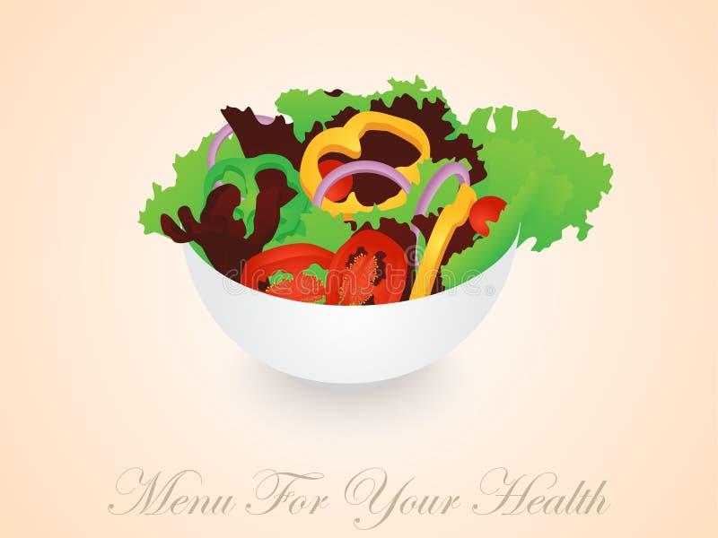 De Kom van de groentensalade vector illustratie
