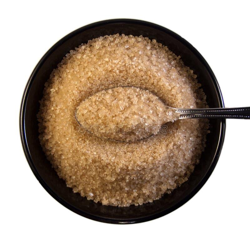 De Kom van de suiker met Lepel stock afbeeldingen