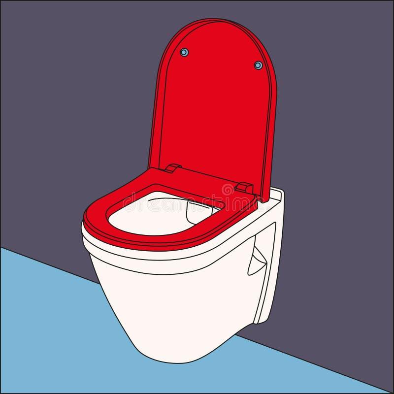 De kombeeld van het pop-artmuur gehangen toilet vector illustratie