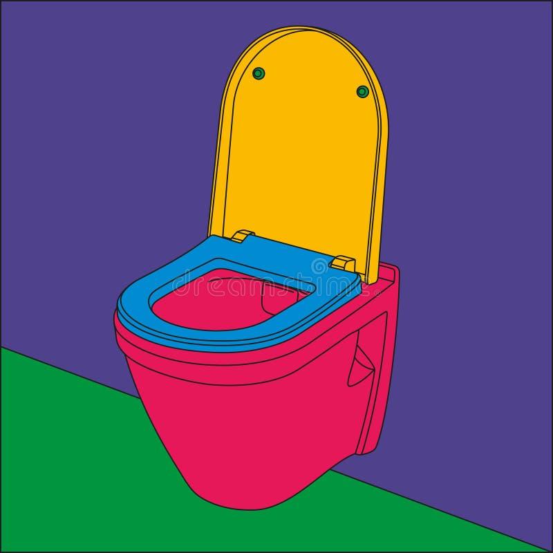 De kombeeld van het pop-artmuur gehangen toilet royalty-vrije illustratie