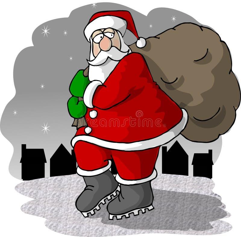 De Komst van de kerstman aan Stad vector illustratie