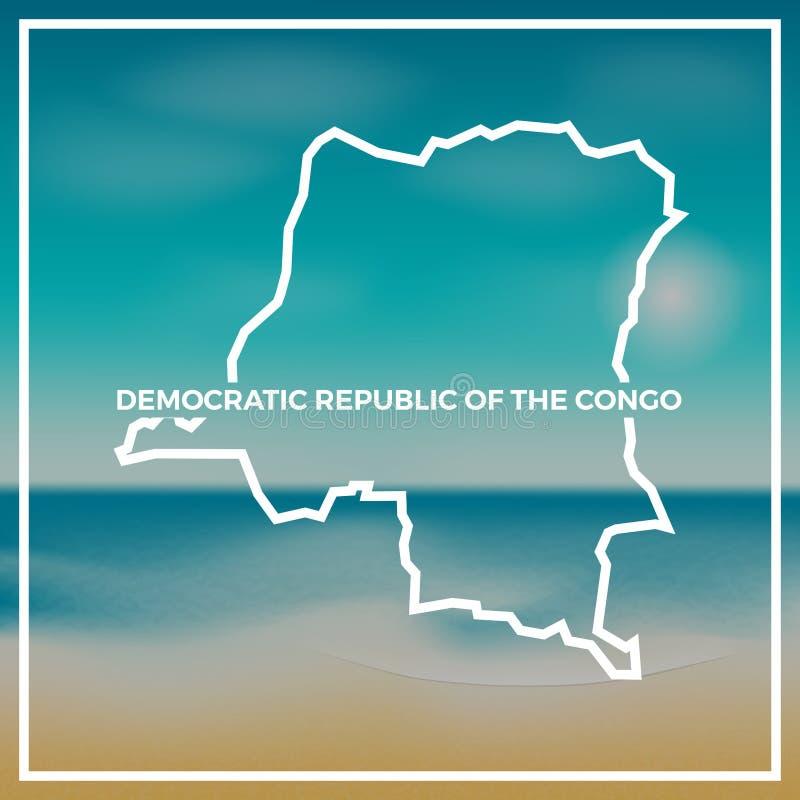 De Kongo, de Democratische Republiek van de ruwe kaart royalty-vrije illustratie