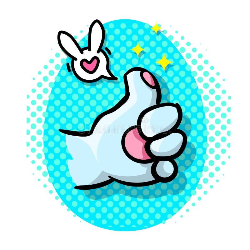 De konijn` s voet toont als teken Strippaginastijl vector illustratie
