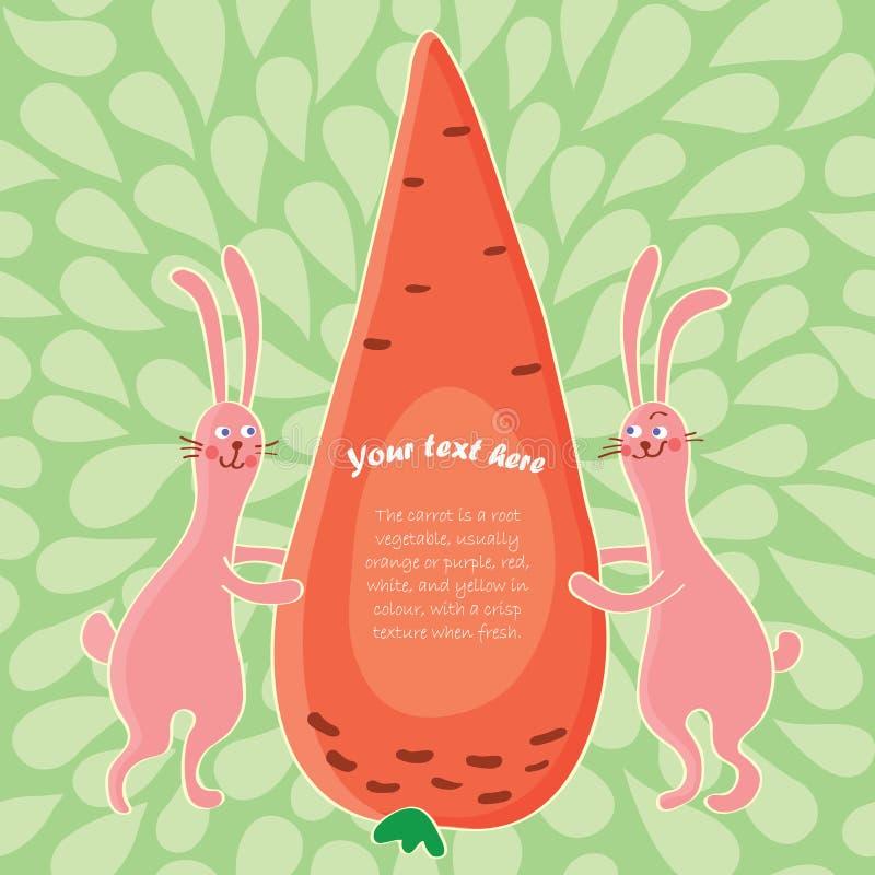 De konijnen van het beeldverhaal en grote wortel vector illustratie