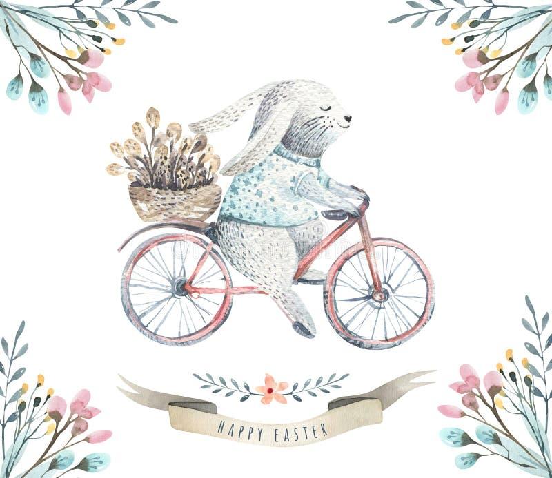 De konijntjes van het de waterverfbeeldverhaal van Pasen van de handtekening met bladeren, zemelen royalty-vrije illustratie