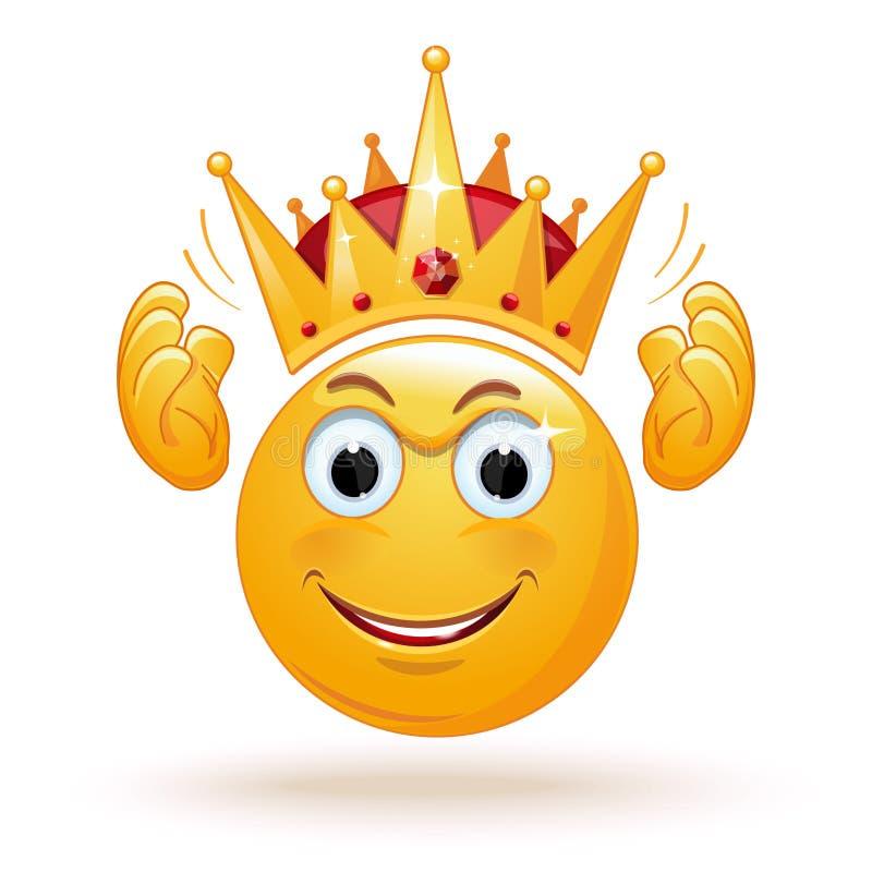 De koning emoticon draagt een kroon vector illustratie