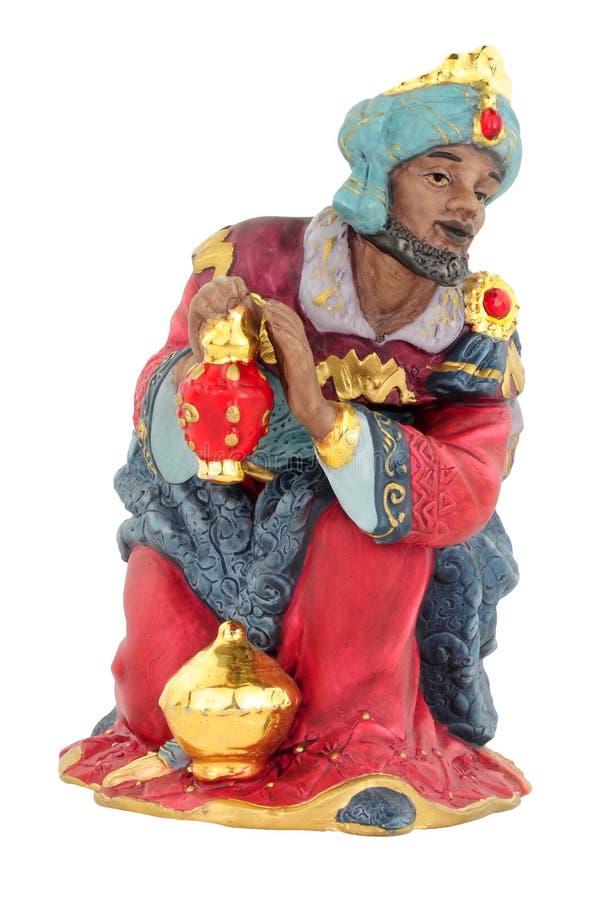 De Koning Figure Kneeling van de Kerstmisgeboorte van christus royalty-vrije stock foto's