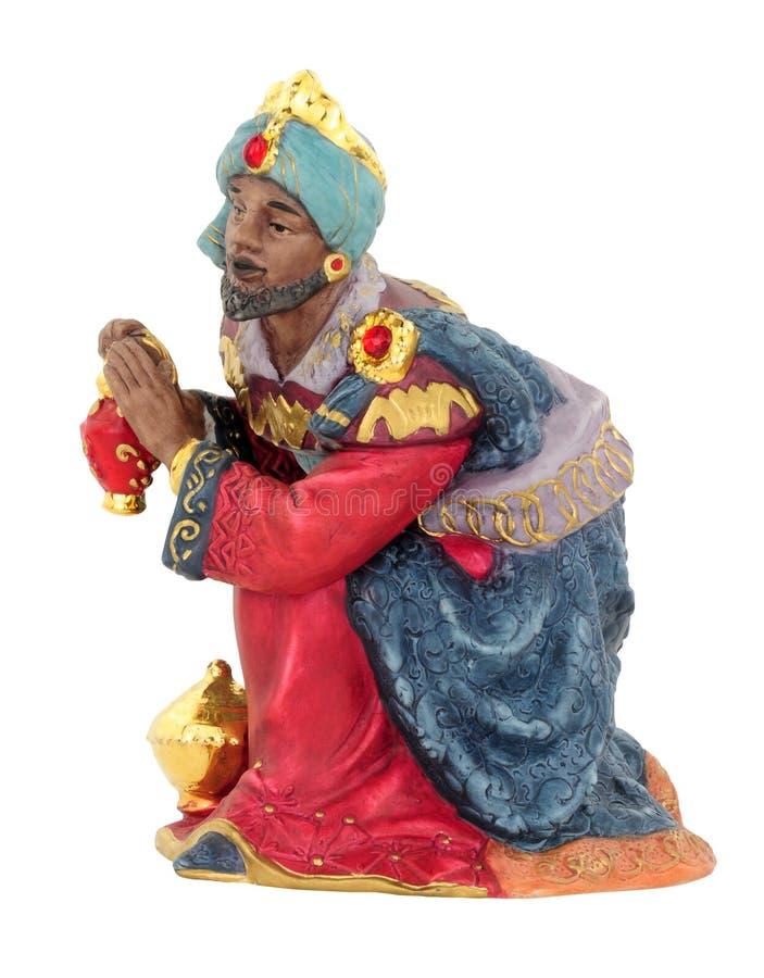 De Koning Figure Kneeling van de Kerstmisgeboorte van christus stock fotografie